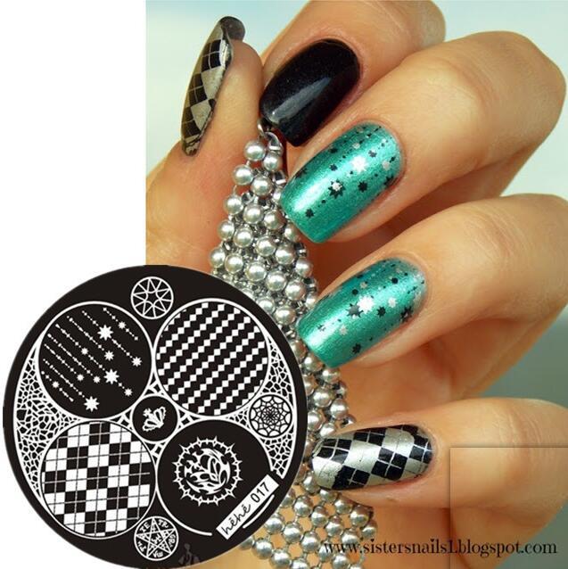 Prego Selo Arte Carimbar Template Placa Coroa Selo Quadrado Malha Pentagrama Nail Art Template Placa Imagem # hehe017 #
