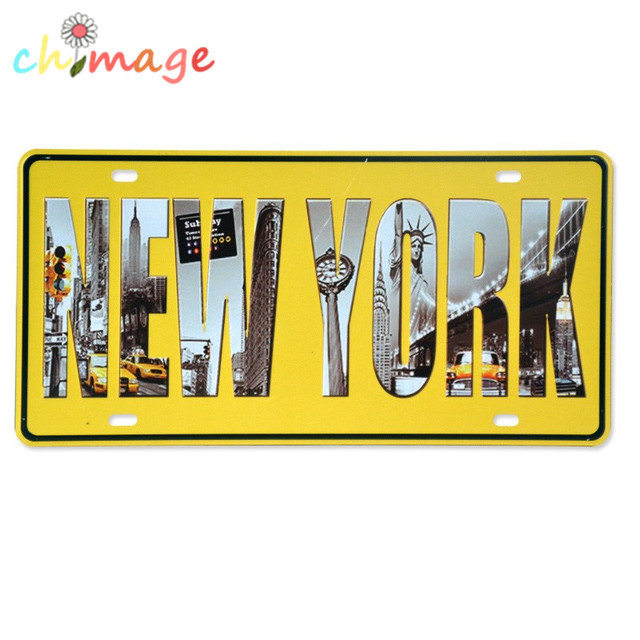 NEW YORK License CARLATE Vintage Tin Sign Bar pub home Wall Decor ...