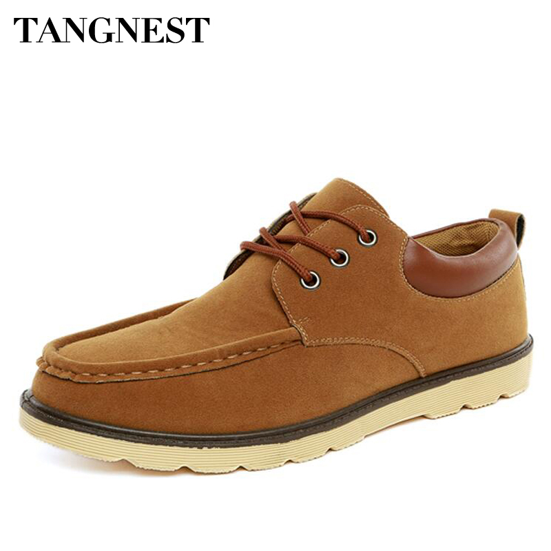 Tangnest Mans Solid Vintage Sewing Casual Shoes Men Classic Flock Flats Shoes Men Lace Up Autumn Low Shoe Male Footwear XMR2269