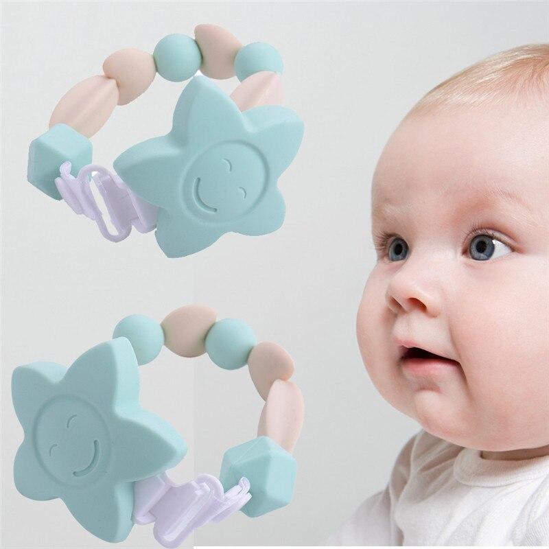 Kiváló minőségű szilikon csecsemő fogak gyöngyökkel nyíró láncok fiúk leányai számára virág rágható kisgyermek csecsemő csecsemő fogak