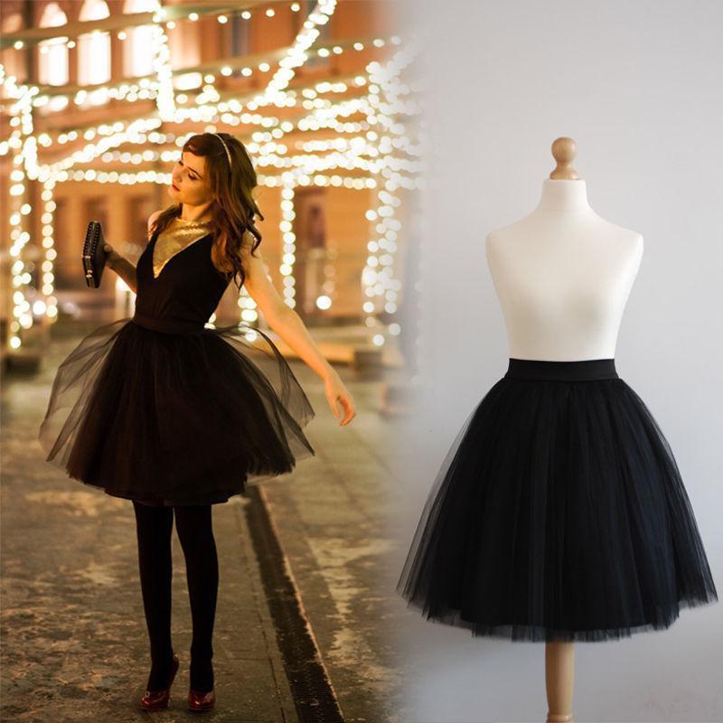 FOLOBE 7 Layers Ballet Dance Midi Tutu Tulle Sukně Ženy Sukně Lolita Petticoat faldas mujer saias Jupe TT-S