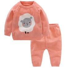 цена на Baby Girls Sets 208 New Autumn Knit Sweater Top+Leggings Pants 2pcs Boys Set Winter Warm Newborn Suit Kids Infant Clothes