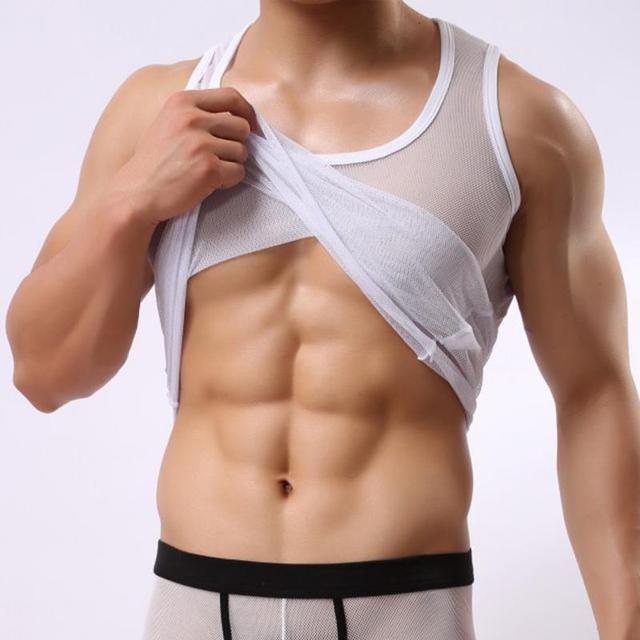 Summer sexy mesh costumes male tank tight elastic vest bodyshaper gay flirt erotic net tops singlet