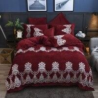 Красное вино Роскошные Королевский вышивка зима толстый бархат фланелевый Комплект постельного белья флис ткань набор пододеяльников для