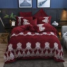 Red Wine Luxury Royal Embroidery Winter Thick Velvet Flannel Bedding Set Fleece Fabric Duvet Cover Bed Linen/sheet Pillowcases