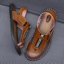Мужские повседневные кожаные шлепанцы, удобные дышащие пляжные сандалии, большие размеры 38 48, для улицы, на лето, 2019Сандалии    АлиЭкспресс