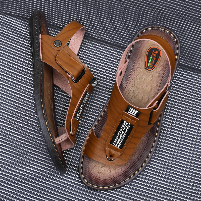 2019 New Summer Male Outdoor Flip Flops Men Comfortable Casual Shoes Leather Men Breathable Beach Shoes Sandals Plus Size 38~48