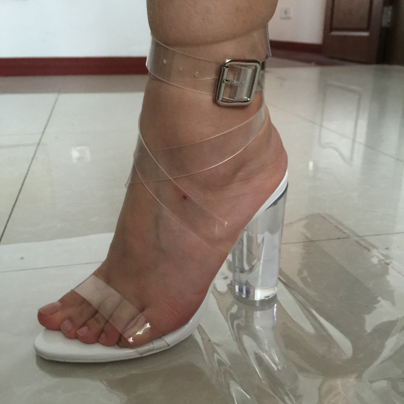 f6d9cb261ea Kim Kardashian PVC Women Sandals Ankle Strap Round Clear High Heels 10cm  Real Images Sexy Party Sandals Transparent Plastic-in Women s Sandals from  Shoes on ...