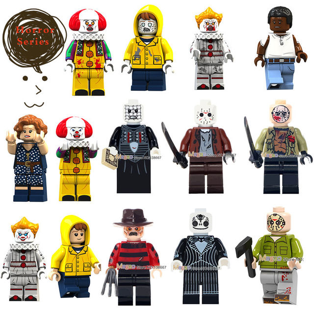 Legoings Horror Figure Halloween Zombie Freddy jason voorhees Texas Chainsaw Horror Jack Skellington pinhead building block toys