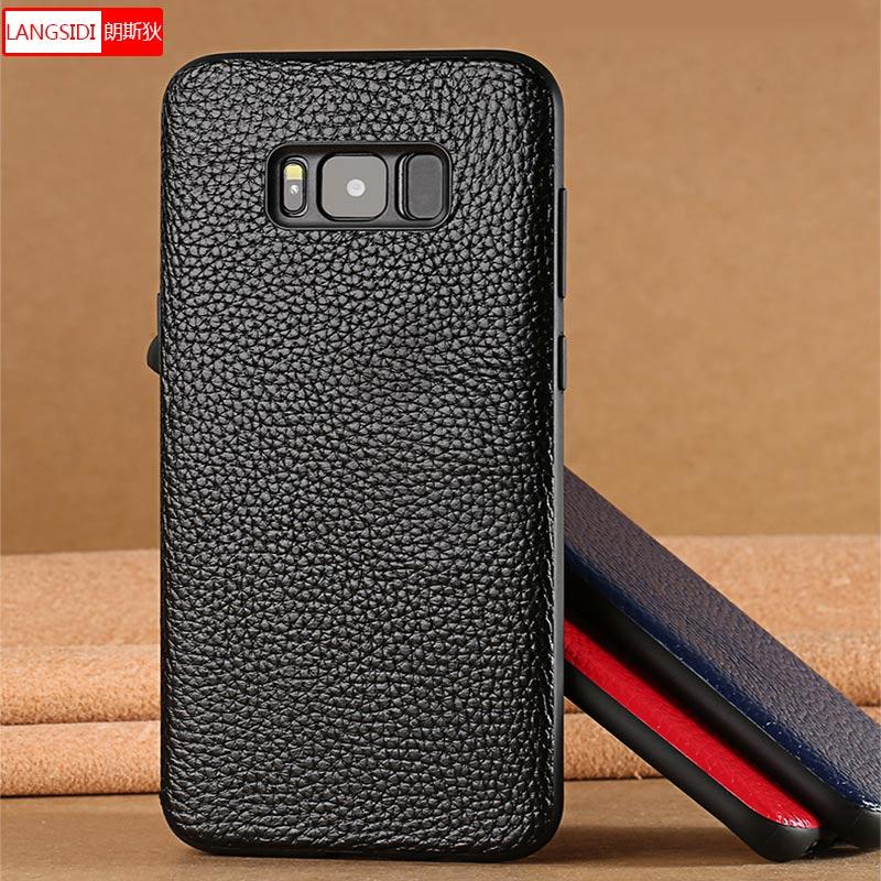 100% Originale Custodia In Pelle di Mucca per Samsung Galaxy S8 S8plus S9 S9plus Note 8 full corpo di Protezione In Silicone Litchi Texture copertura