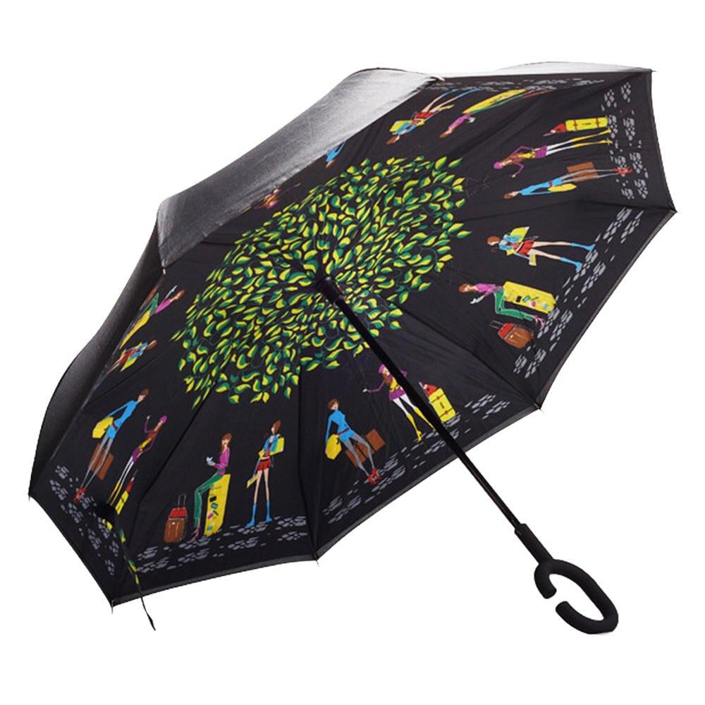 Femme parapluie pliant c-poignée inverse Parasols pluie inversé solide inverse parapluie coupe-vent parapluie Double couche WZP258