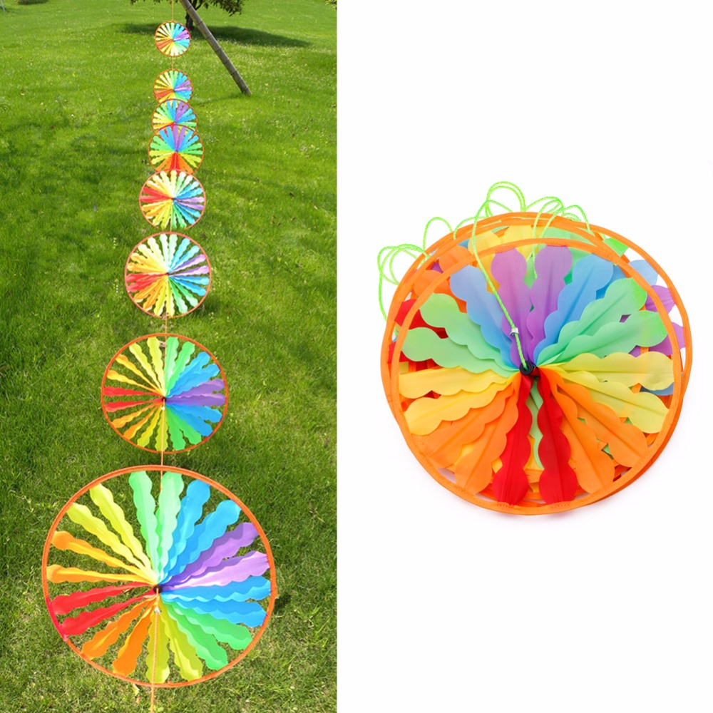 1Pc New Rainbow Wheel Windmill Wind Spinner Whirligig Garden Home Lawn Decoration Kids T ...