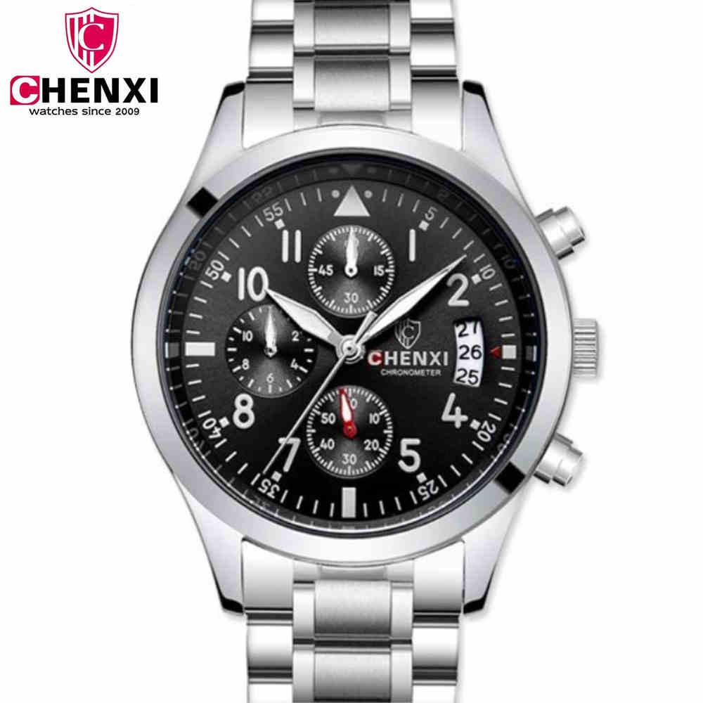 CHENXI Men Multifunction Watches Hot Sale Man Quartz Watch Brand Design Fashion Steel Bracelet Wristwatch Male Clock Chronograph