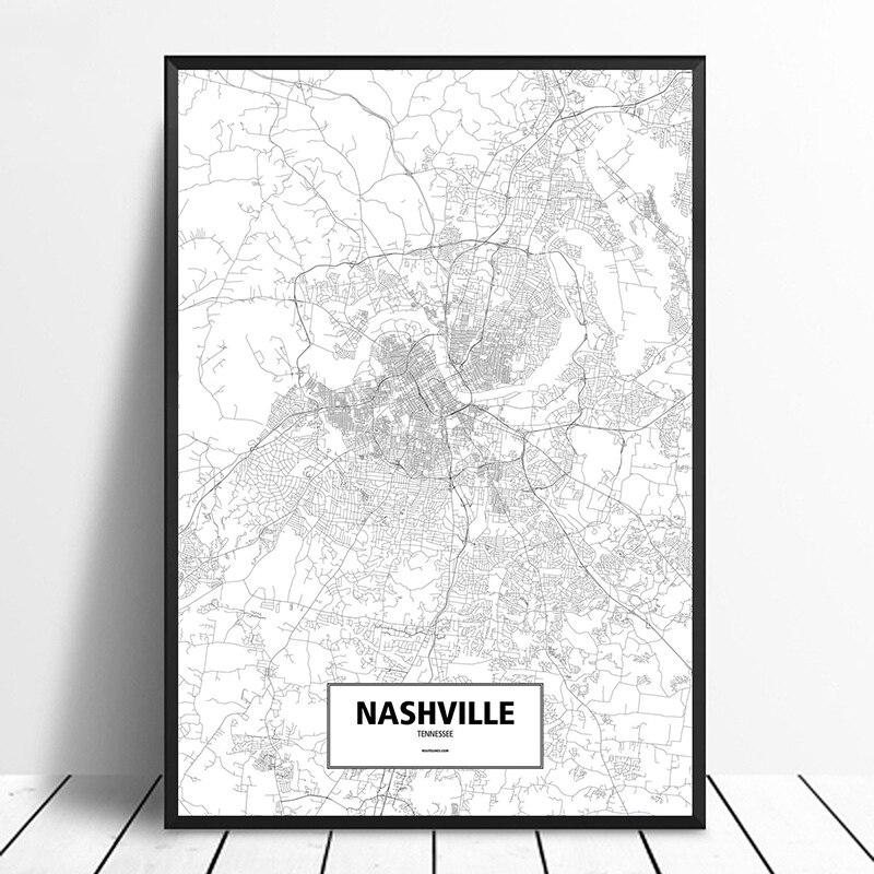 Нэшвилль, Теннесси, США Черный Белый пользовательская карта городов мира плакат холст печать скандинавский стиль настенный Декор для дома