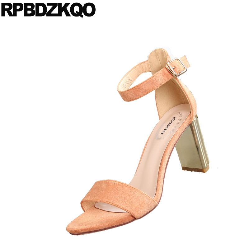 dc769d3a8008 ... Ladies High Sandals Toe Korean Orange Fashion Strap Elegant Summer  Women Thick Pumps Chunky Designer Shoes ...