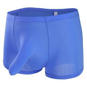 Sexy Mens Elephant Nose Bulge Underwear Big Pouch Lingerie Male Ice Silk Underpants Shorts Panties Underwear Men Boxer Shorts(China)