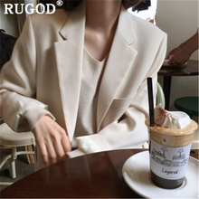 RUGOD Elegant solid women jacket notched collar single-breasted official ladies