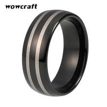 8mm Black Tungsten Carbide Ring for Men With Silver Lines Polished Finish Dome Wedding Band Comfort Fit цены онлайн