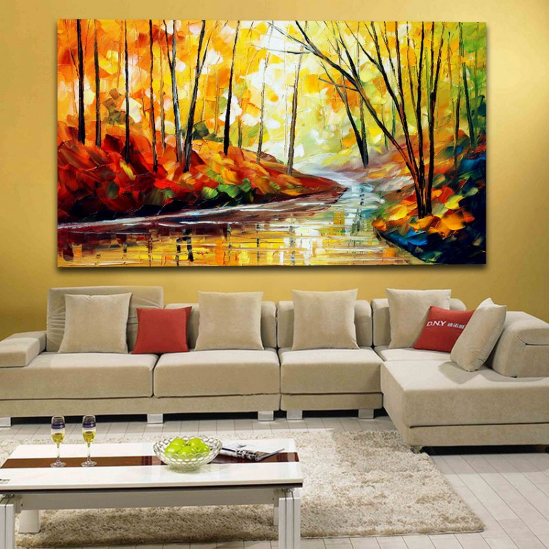 100 Hand painted Palette font b Knife b font Painting Charming Forest Road Landscape Picture Frameless