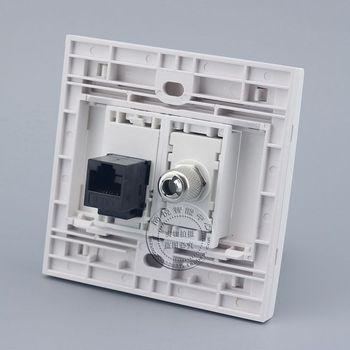 Placa de pared 2 puertos CAT6 RJ45 red LAN y salida de TV conector Panel frontal enchufe de hogar