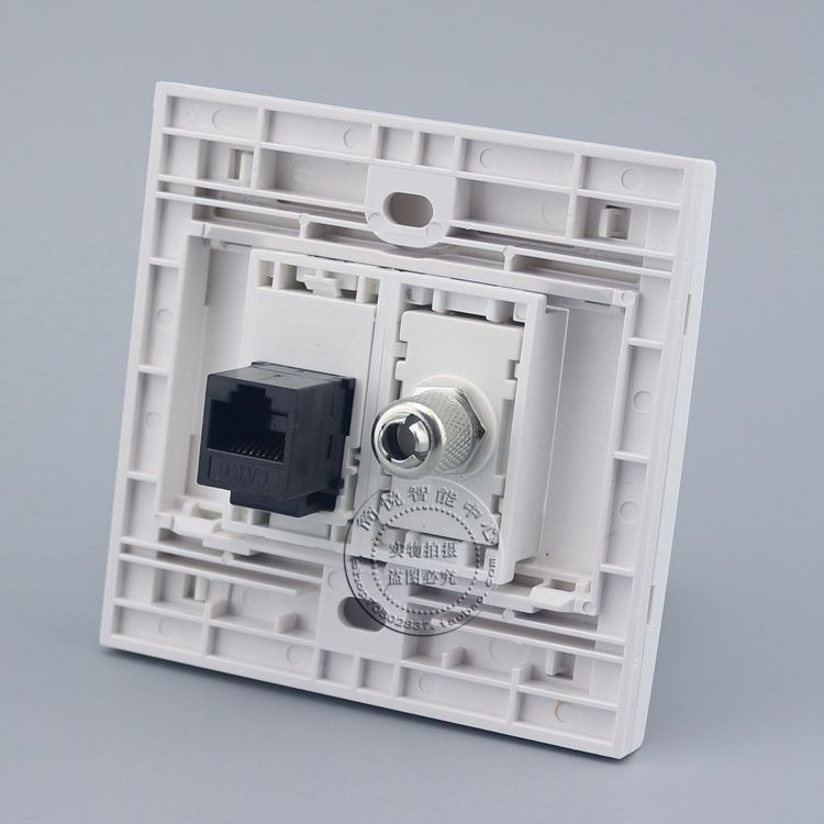 Wall Plate 2 Ports CAT6 RJ45 Network LAN & TV Outlet Connector Panel Faceplate Home Plug