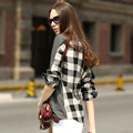 Veri Gude Women's Plaid Patchwork Blouse British Style Solid Color Long Sleeve Shirt