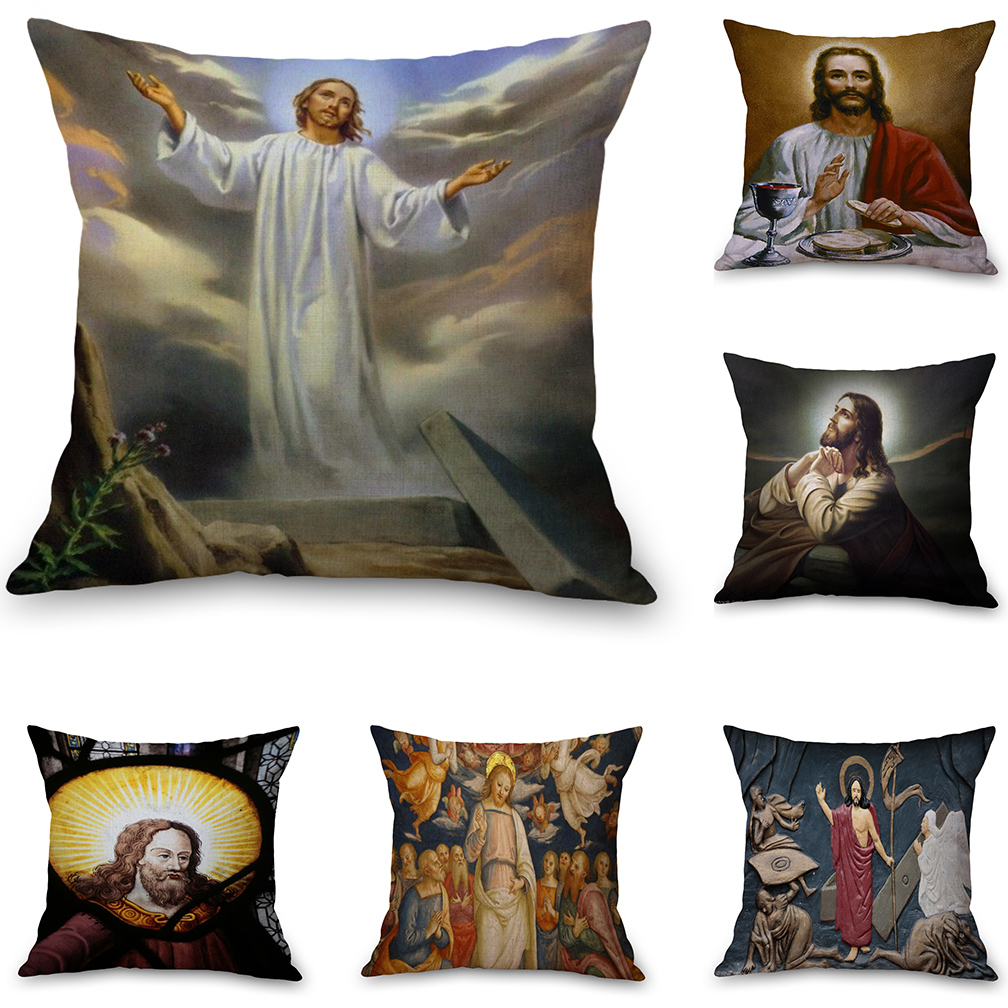 Christian Cross Jesus Heaven Neck Body Pillowcase Linen Bed Travel Pillows Cover Couch Seat Cushion Throw Pillow Home Decor