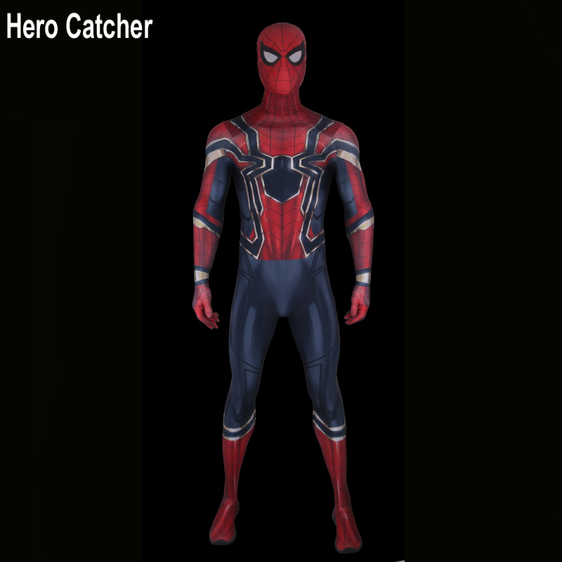 Hero Catcher Top Quality Iron Spider Costume Avengers Iron Spider Cosplay Costume With Mask Shoes Fullbody Zentai Suit