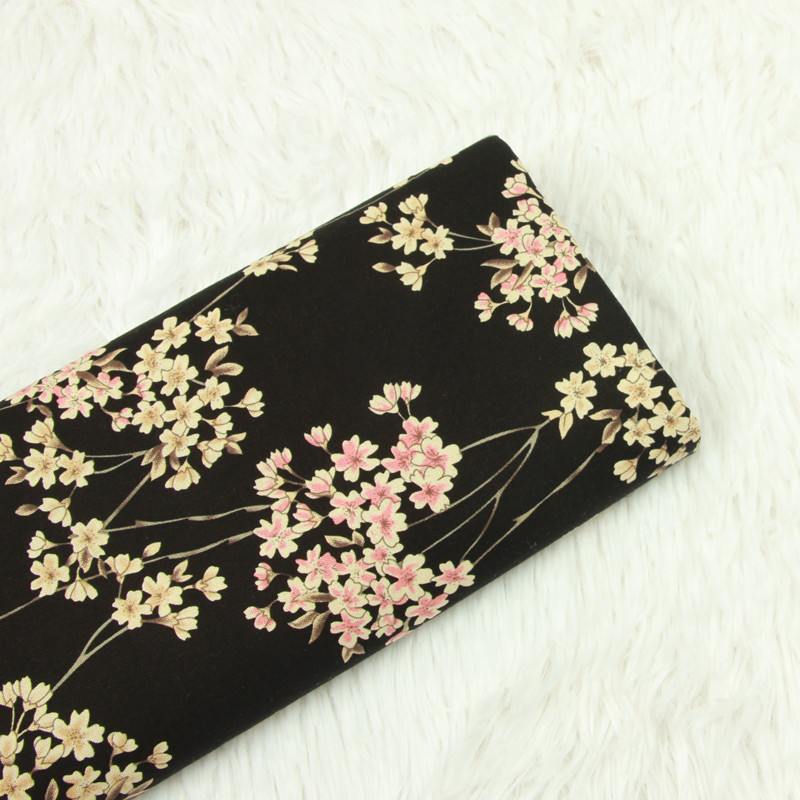 Floral Printed Black Cotton Plain Fabric Material DIY Sewing Cloth For Handmade Textile Dress