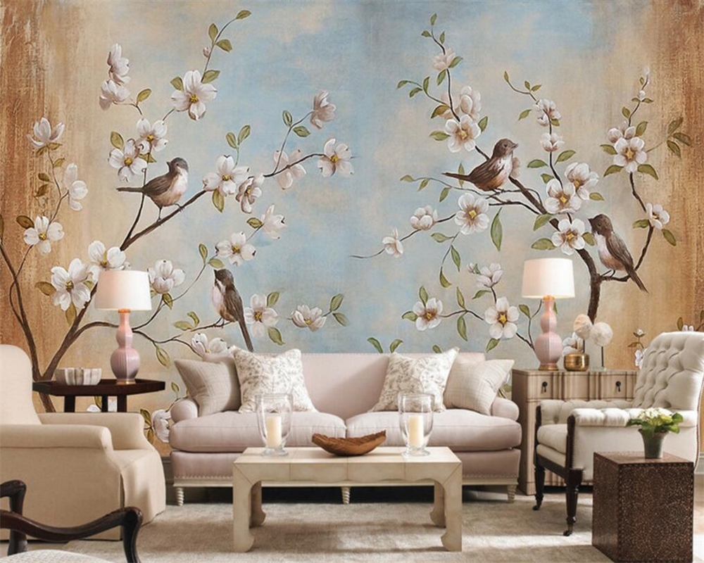Beibehang Customize Any Size 3d Living Room Wallpaper, Modern Flower Bird Peach Painting Picture Murals Wallpaper For Walls 3d