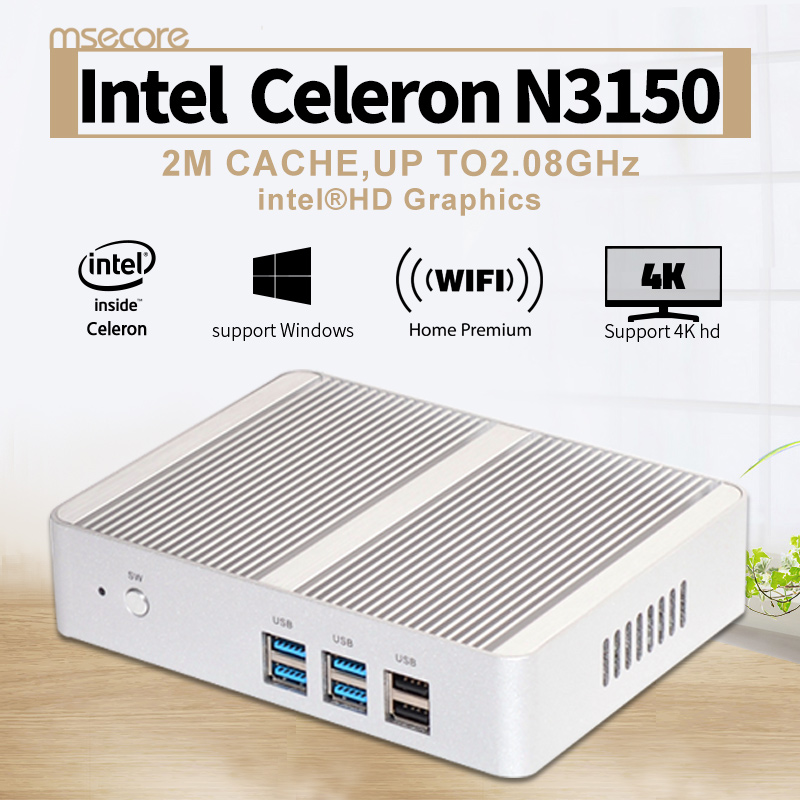 Fanless Intel N3150 Mini PC Windows 10 NUC barebone system thin client Desktop Computer Celeron Quad