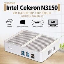 Безвентиляторный Intel N3150 Mini PC Windows 10 NUC barebone системы тонкий клиент настольный компьютер Celeron Quad-Core HD Graphics Wi-Fi