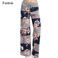 Vertvie Multi Pattern Floral Print High Waist Yoga Pants Loose Drawstring Quick Dry Wide Leg Pant