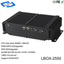 Low Cost Intel Atom D2550 Dual Core CPU RAM 2GB SSD 32GB Mini PC Windows10 Used For Kiosk Solution Embedded Industrial Computer
