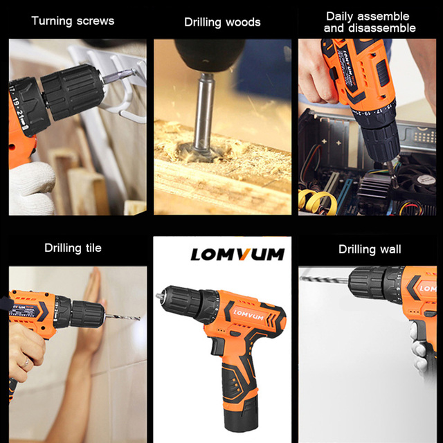 LOMVUM 12V Electric Drill Screwdriver Power dremel Tool Rechargeable Cordless drills Lithium-Ion Battery Screw Rotary Tool  1