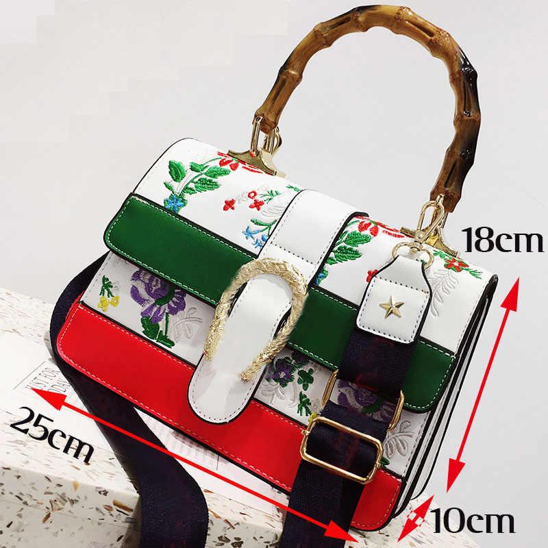 763ba5420 ... Women's Fake Designer Bamboo Handbag Female Luxury Floral Embroidery  Crossbody Shoulder Bags for Women 2019 Handbags ...