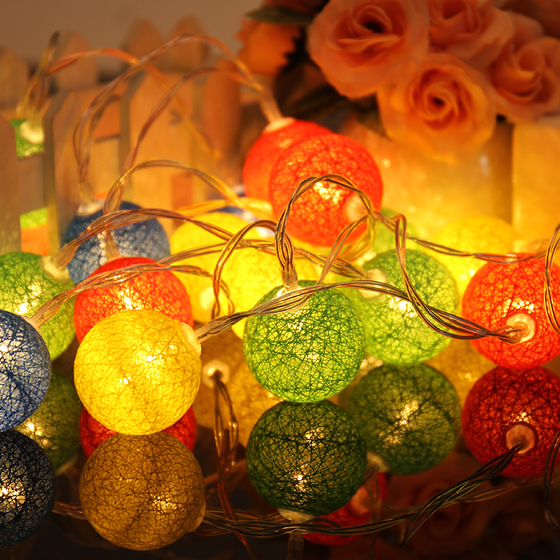 2018 Festival Party Light Indoor Decor Multi-color Lamp 2.3m 20 Cotton Ball Light Strings Holiday Atmosphere Ball-shaped Lamp