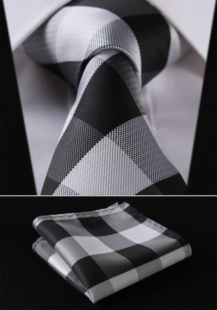 """TC4029L8 Black White Check 3.4"""" 100%Silk Wedding Jacquard Woven Men Tie Necktie Pocket Square Handkerchief Set Suit"""