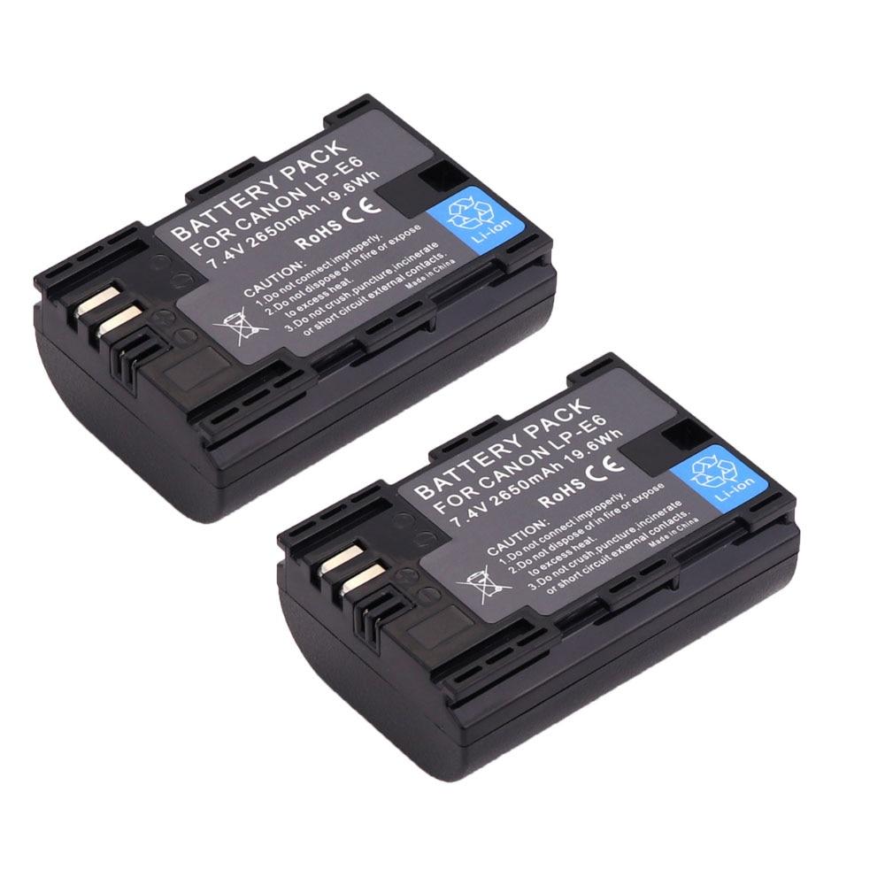 Free shipping 2pcs Full code bateria LP-E6 LPE6 LP E6 Batteries For Canon 5D Mark II Mark III 6D 7D 60D 60Da 70D 80D DSLR