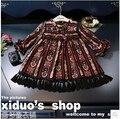 Корейские дети осень 2016 Новых Девушек Супер ретро полоса цвет кисточкой Шифона Платье вкус бесплатная доставка