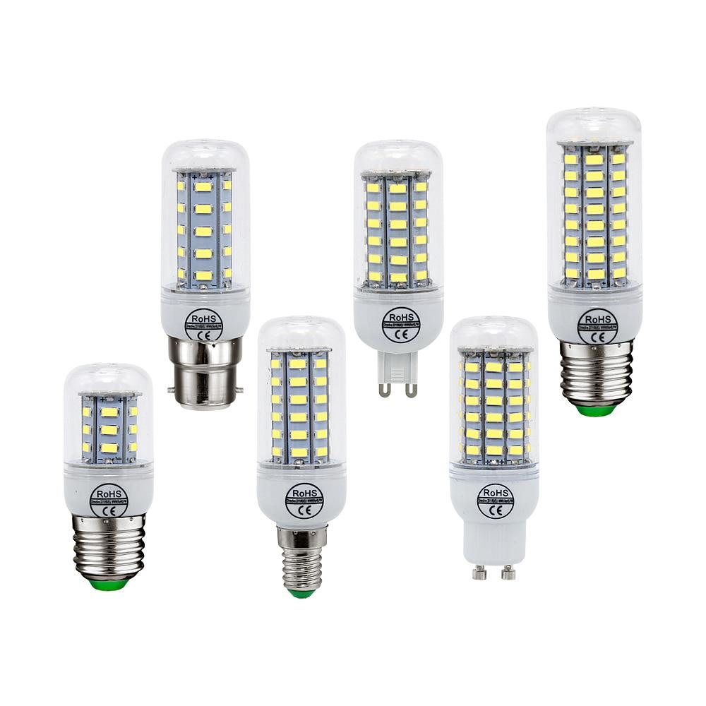 E14 E27 B22 G9 GU10 LED Lamp SMD 5730 LED Light Corn Led Bulb 24 36 48 56 69 72Leds 220V 230V Chandelier Candle Home Lighting