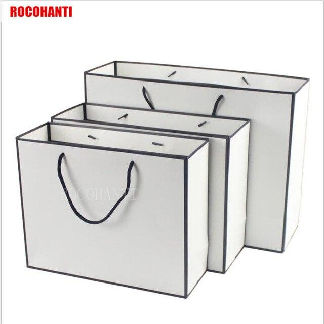 50x negro Marcos Blanco Bolsa de papel comercial con cadena ...