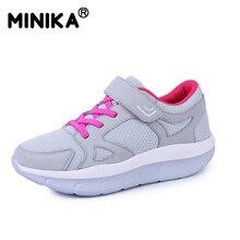 Minika 2017 New Women's Shoes Casual Fashion Shoes Walking Flats Height Increasing Women Breathable Air Mesh Swing Wedges Shoes