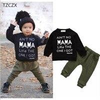 TZCZX-8620 Nuovi Bambini Neonati maschi Moda Stampato O-Collo Pieno Manica set Per 6 Mesi a 3 Anni I Bambini Indossano vestiti