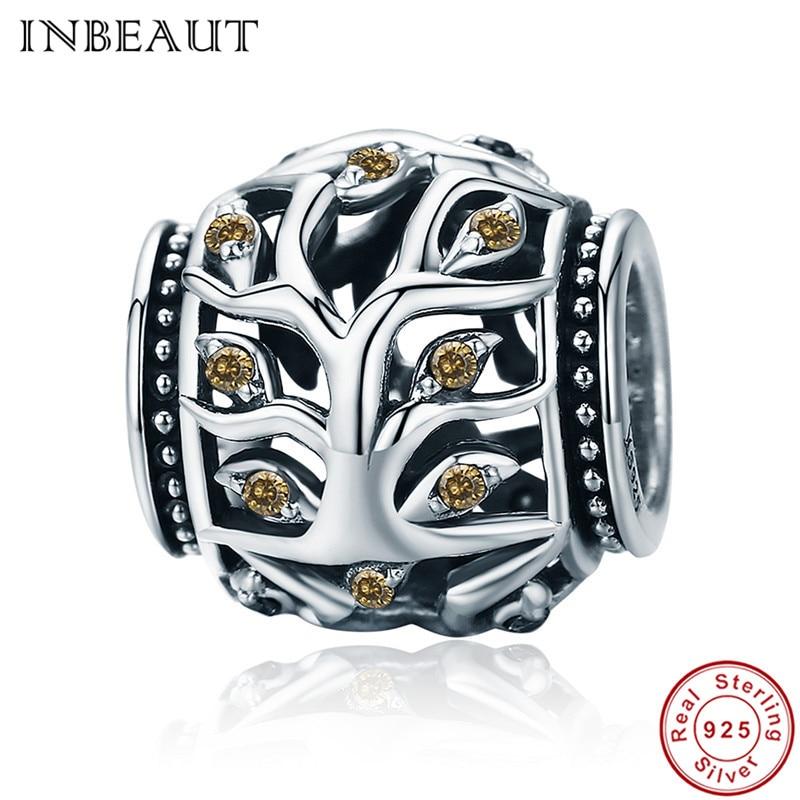 INBEAUT 100% Real 925 Sterling Silver Leaf Brown Zircon Stone Tree Vintage Hollow Beads fit Pandora Charm Bracelet for Women