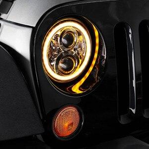 Image 3 - For Hummer H1 H2 Led Headlight 60w 7 Inch LED Headlights High Low Beam Angel Eye DRL Amber Turn Signal for Jeep Wrangler JK Lamp