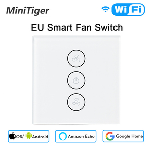 Image 1 - AB/ABD Tuya Akıllı Yaşam WiFi Akıllı tavan vantilatörü Anahtarı APP Uzaktan Zamanlayıcı ve Hız Kontrolü ile Uyumlu Alexa ve google Ev