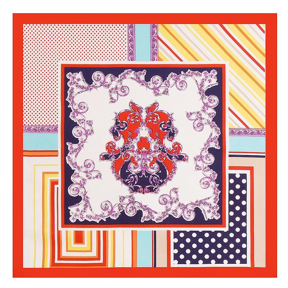 2018 29colors 60cm*60cm Striped Plaid Small Square Scarves Hijab Luxury Brand Women Twill Silk Scarf Fashion Headscarf