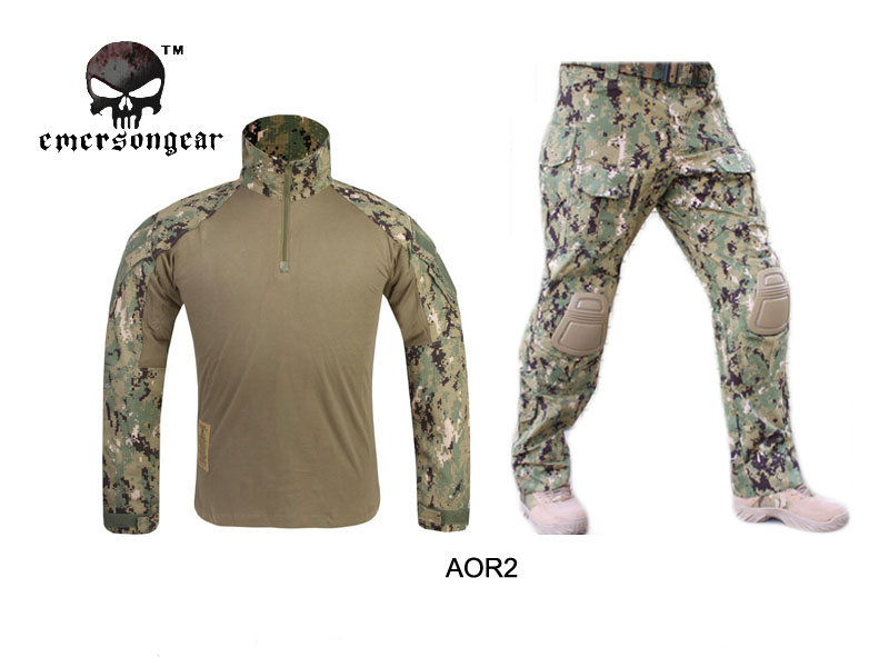 Emersongear G3 Combat uniform shirt & Pants with knee pads Army Airsoft Tactical Emerson Military Camouflag AOR2