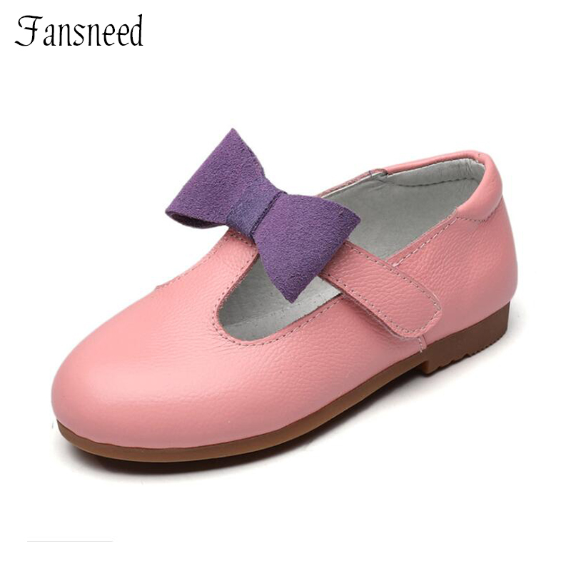 Spring and autumn children shoes genuine leather girls princess shoes children bow-knot new small white leather shoes